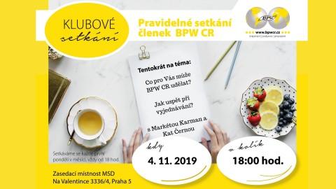 4.11.2019 – Klubové setkání s Markétou Karman a Kateřinou Černou 🗓 🗺