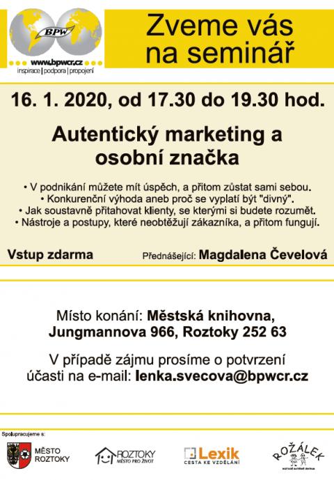 16.1.2020 – Autentický marketing a osobní značka – BPW Roztoky 🗓 🗺