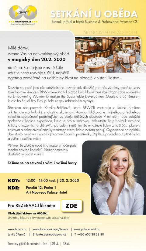 20.2.2020 – Networkingový oběd s Kamilou Paličkovou 🗓 🗺