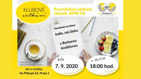 7. 9. 2020 – Klubové setkání s Bárou Andělovou 🗓 🗺