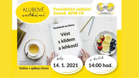 14. 1 2021 Klubové setkání se Simonou Šaškovou 🗓