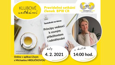 4.2.2021 Klubové setkání s Michaelou Hrdličkovou 🗓