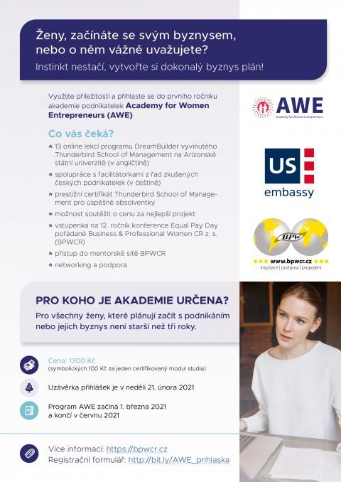 Spustili jsme registraci do Academy for Women Entrepreneurs (AWE)