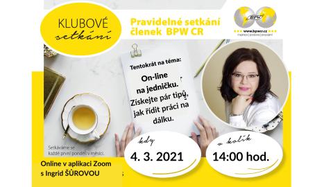 4. 3. 2021 Klubové setkání s Ingrid Šůrovou 🗓