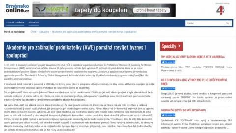 Brněnskoonline.cz: Akademie pro začínající podnikatelky (AWE) pomáhá rozvíjet byznys i spolupráci