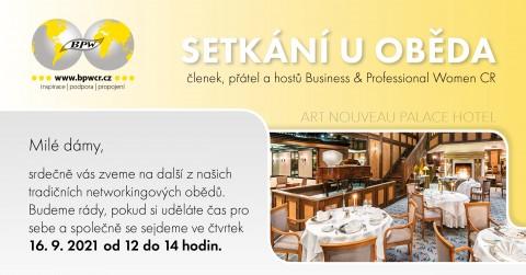 16.09.2021 Pozvánka na tradiční networkingový oběd BPWCR 🗓